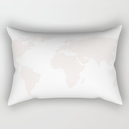 World Map Dots Rose Gold Bronze Copper Rectangular Pillow