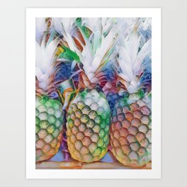 Rainbow Pineapples Art Print