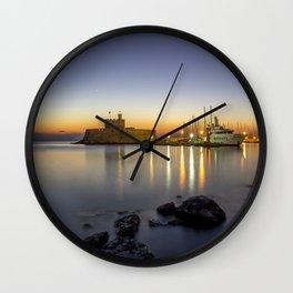 Mandraki harbour of Rhodes Greece at sunrise Wall Clock