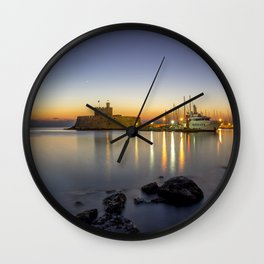 Mandraki harbour of Rhodes Greece at sunrise Wall Clock