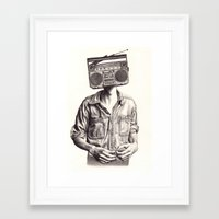 radio Framed Art Prints featuring Radio-Head by KatePowellArt