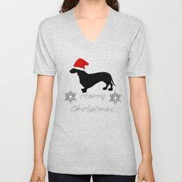 """Dachshund """"Merry christmas"""" Unisex V-Neck"""