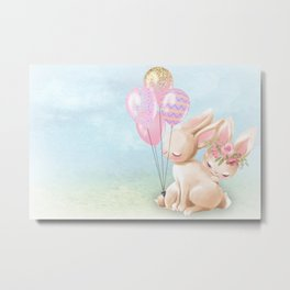 Lovey Dovey Easter Bunnies Metal Print