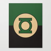 dc comics Canvas Prints featuring Green Lantern Logo Minimalist Art Print DC Comics by The Retro Inc