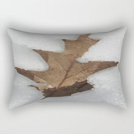 leaf in snow Rectangular Pillow