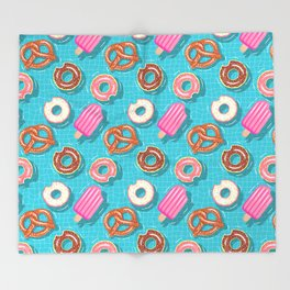 Poolparty doughnuts, pretzel,lollies Throw Blanket