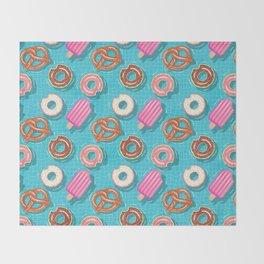 Poolparty doughnuts, pretzel,lollies Throw Blanket
