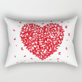 Heart - summer card design, red butterfly on white background Rectangular Pillow