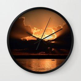 Fisherman Sunset Wall Clock