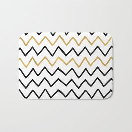 Writing Exercise-Simple Zig Zag Pattern- Black on White Gold - Mix & Match with Simplicity of life Bath Mat