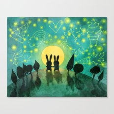 Bunny Constellation Gazing Canvas Print