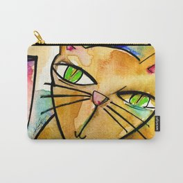 My Crazy Cat No. 3 by Kathy Morton Stanion Carry-All Pouch