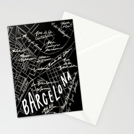 Barcelona, Spain Map Stationery Cards