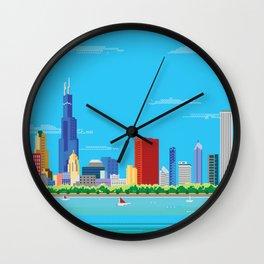 8-bit Pixel Chicago Skyline Wall Clock