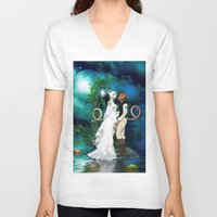 wedding V-neck T-shirts featuring Wedding Day by Simone Gatterwe