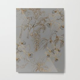 Orchids and Birds Pattern Metal Print