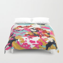 Inez - Modern Abstract painting in bold colors for trendy modern feminine gifts ideas  Duvet Cover