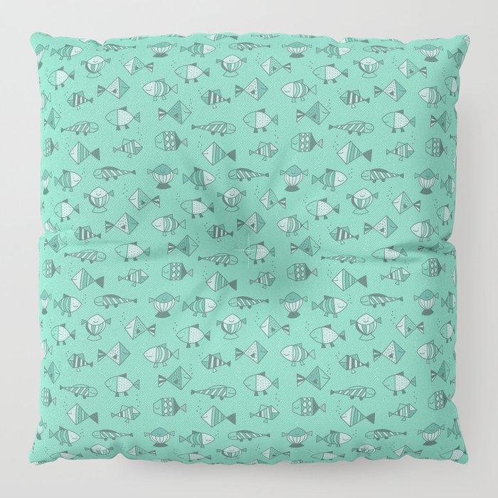 Geometric fish Floor Pillow