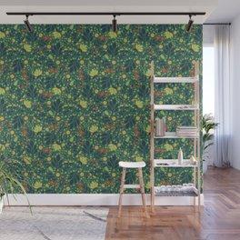 Teal, Pale Green, Dark Blue, Yellow & Orange Floral Pattern Wall Mural