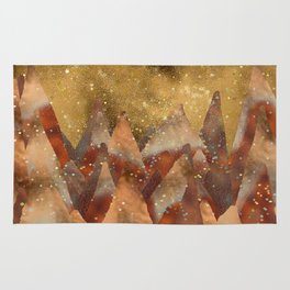 Abstract Copper  Gold Glitter Mountain Dreamscape Rug