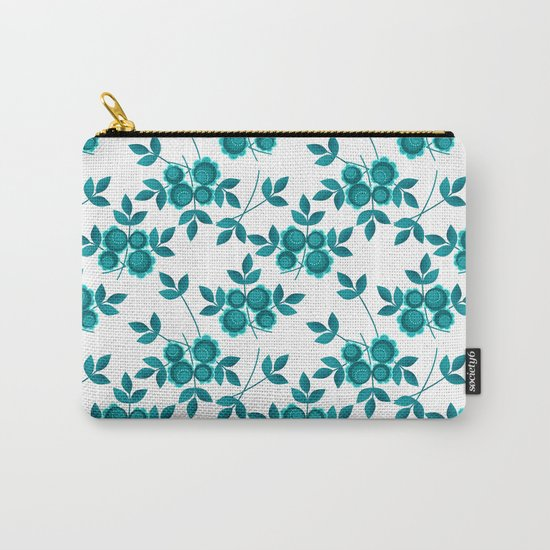 Retro .Turquoise flowers on a white background . Carry-All Pouch