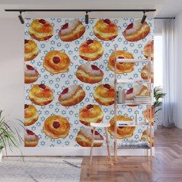 My Bubbie's Hanukkah Jelly Donuts (Hanukkah Sufganiyot) Wall Mural