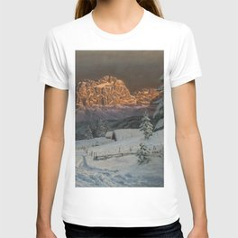 Winter Sunset After Snowfall in the Italian Alps landscape painting T-shirt