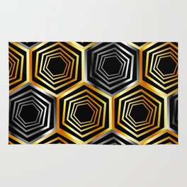 Gold and silver hexagonal composition Rug