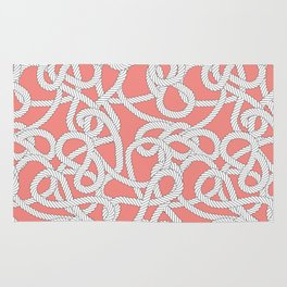 Nautical Rope Knots in Coral Rug