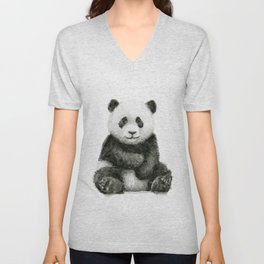 Panda Baby Watercolor Unisex V-Neck