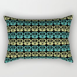Mid Century Modern Retro Abstract Flowers Teal and Avocado Green on Black Rectangular Pillow