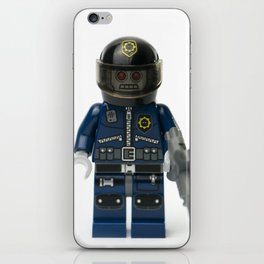 Robot zombie policeman minifig front iPhone Skin