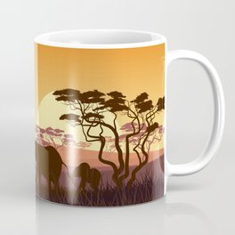 elephants in the African meadow Coffee Mug