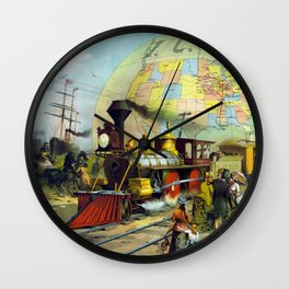 Vintage Transcontinental Railroad Wall Clock
