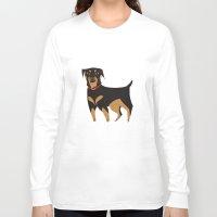 rottweiler Long Sleeve T-shirts featuring Rottweiler by Reimena Ashel Yee