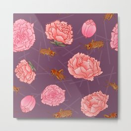 Carnations & Crickets Metal Print