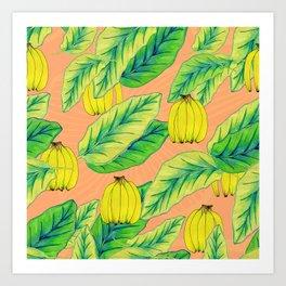 Banana Jungle - Peach Art Print