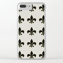 Fleur de lis.... ivory,gold and black Clear iPhone Case