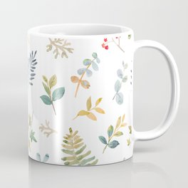 Elegant pink teal lilac yellow watercolor floral leaves Coffee Mug
