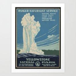 Vintage American WPA Poster - Yellowstone National Park (1938) Art Print