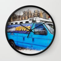 the hound Wall Clocks featuring News Hound by Paul & Fe Photography