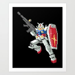 8-bit Gundam Art Print