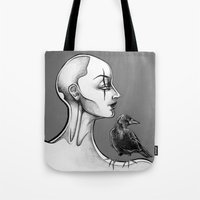 crow Tote Bags featuring Crow by Sam Pea