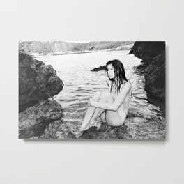 Swimsuit Girl on the Rocks Metal Print