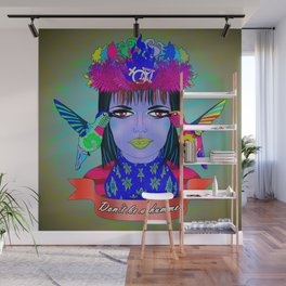 Don't Be a Hummer- Woman and Hummingbird Feminist Portrait V3 Wall Mural