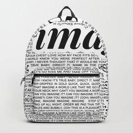 imagine - Ariana - imagination - lyrics - white black Backpack
