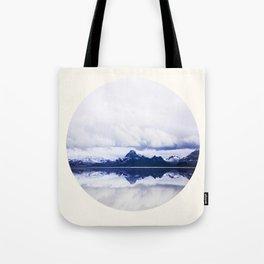 Mid Century Modern Round Circle Photo Graphic Design Navy Blue Arctic Mountains Tote Bag