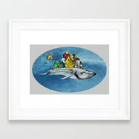 the whale Framed Art Prints featuring whale by Кaterina Кalinich