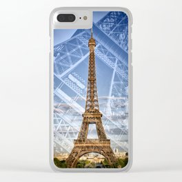 Eiffel Tower Double Exposure II Clear iPhone Case