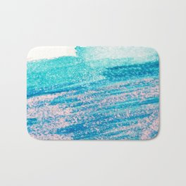 Abstract hand painted blue teal pink watercolor brushstrokes Bath Mat